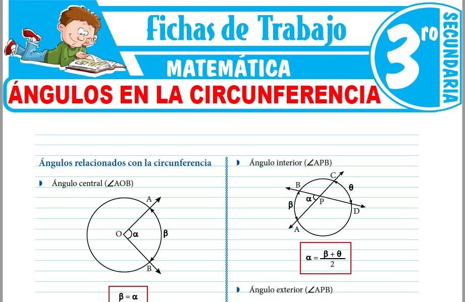 Modelos de la Ficha de Ángulos en la circunferencia para Tercero de Secundaria