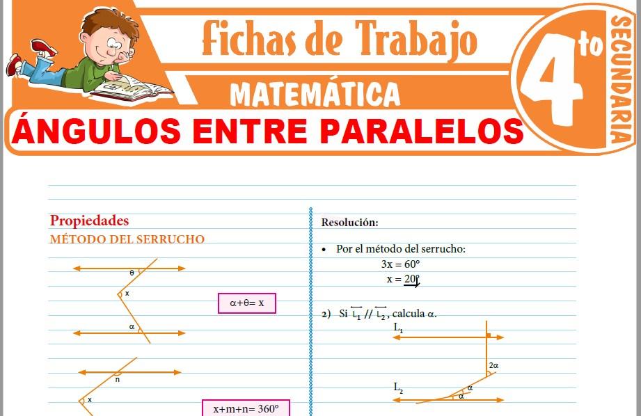 Modelos de la Ficha de Ángulos entre rectas paralelas para Cuarto de Secundaria