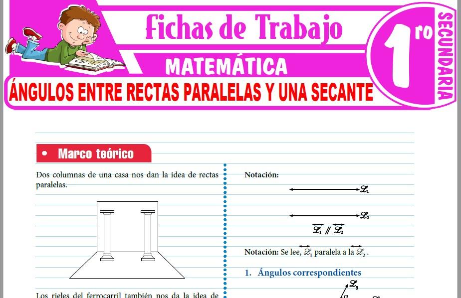 Modelos de la Ficha de Ángulos entre rectas paralelas y una secante para Primero de Secundaria
