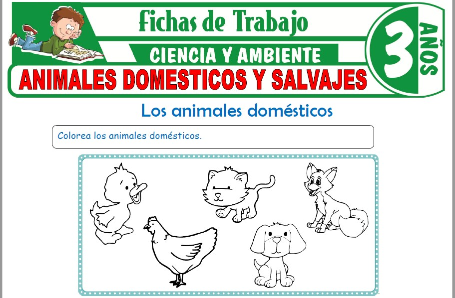 Modelos de la Ficha de Animales domésticos y salvajes para Niños de Tres Años