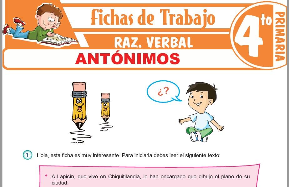 Modelos de la Ficha de Antónimos para Cuarto de Primaria