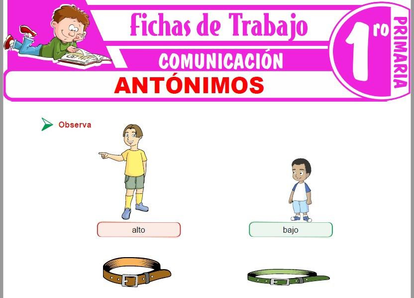 Modelos de la Ficha de Antónimos para Primero de Primaria