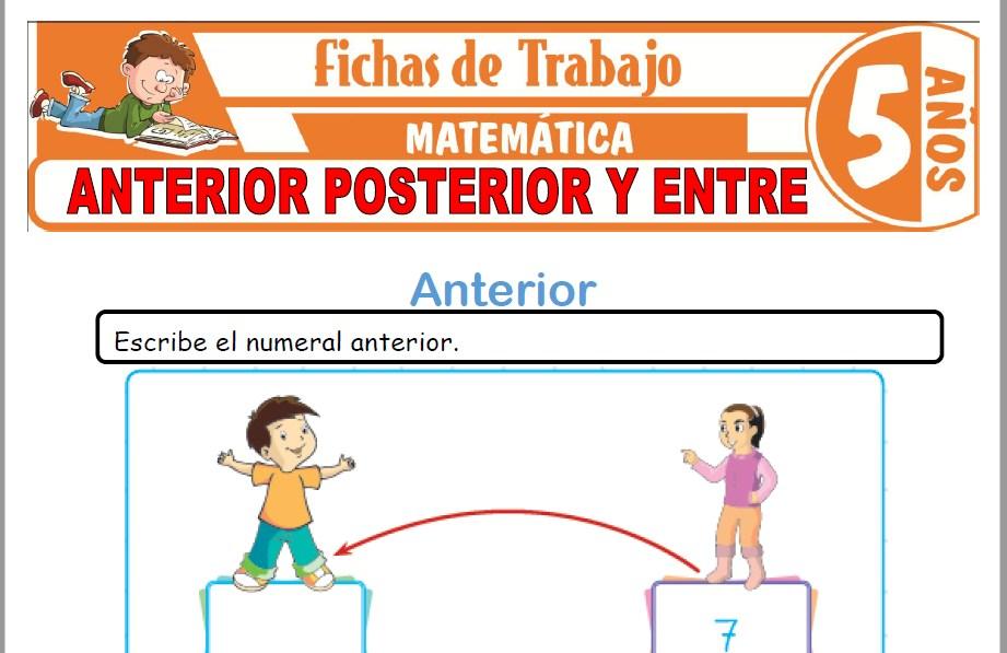 Modelos de la Ficha de Anterior, posterior y entre para Niños de Cinco Años