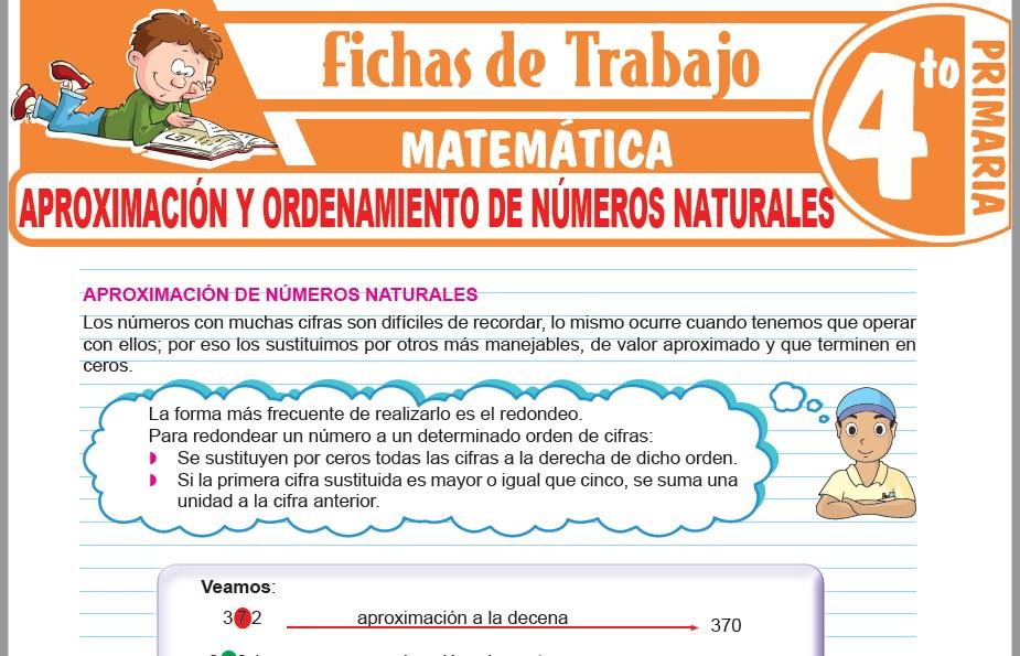 Modelos de la Ficha de Aproximación y ordenamiento de números naturales para Cuarto de Primaria