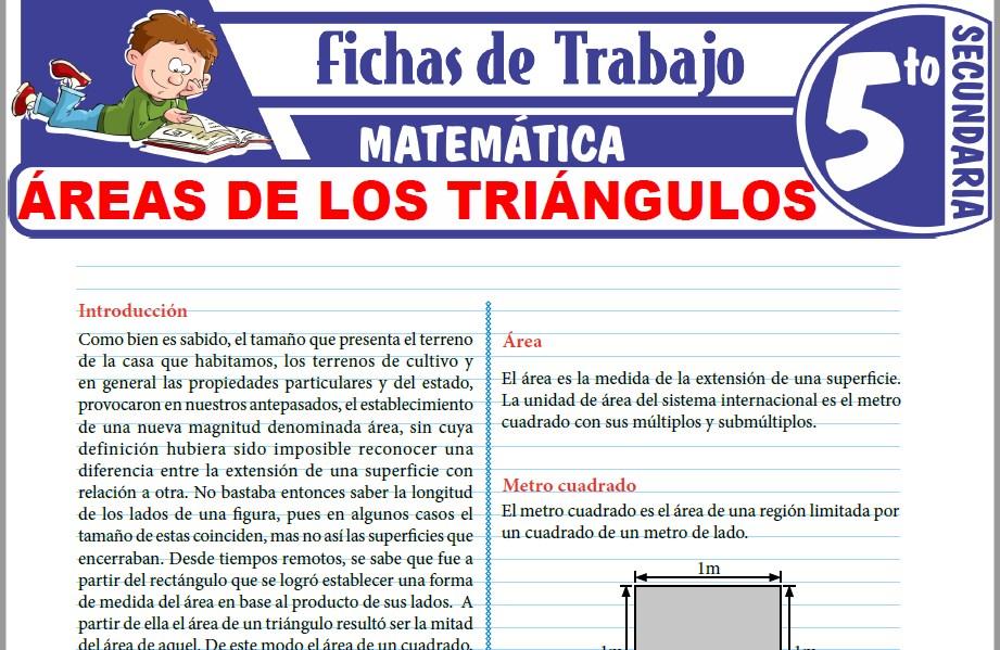 Modelos de la Ficha de Áreas de los triángulos para Quinto de Secundaria