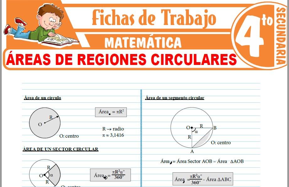 Modelos de la Ficha de Áreas de regiones circulares para Cuarto de Secundaria