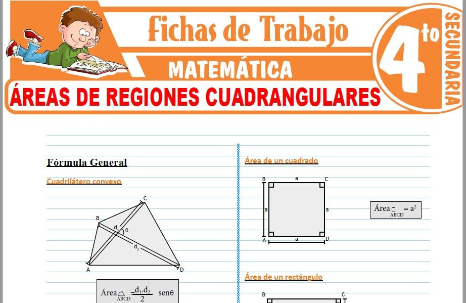 Modelos de la Ficha de Áreas de regiones cuadrangulares para Cuarto de Secundaria