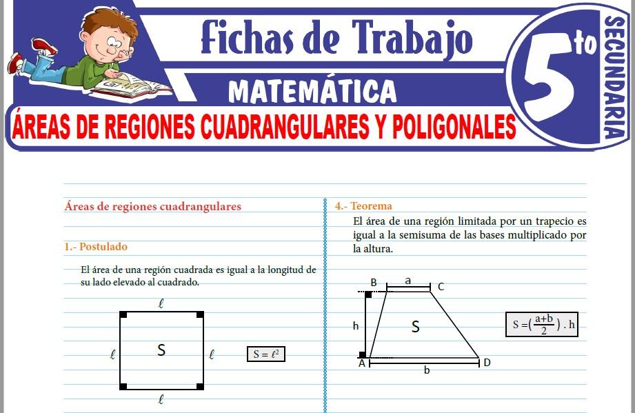 Modelos de la Ficha de Áreas de regiones cuadrangulares y poligonales para Quinto de Secundaria