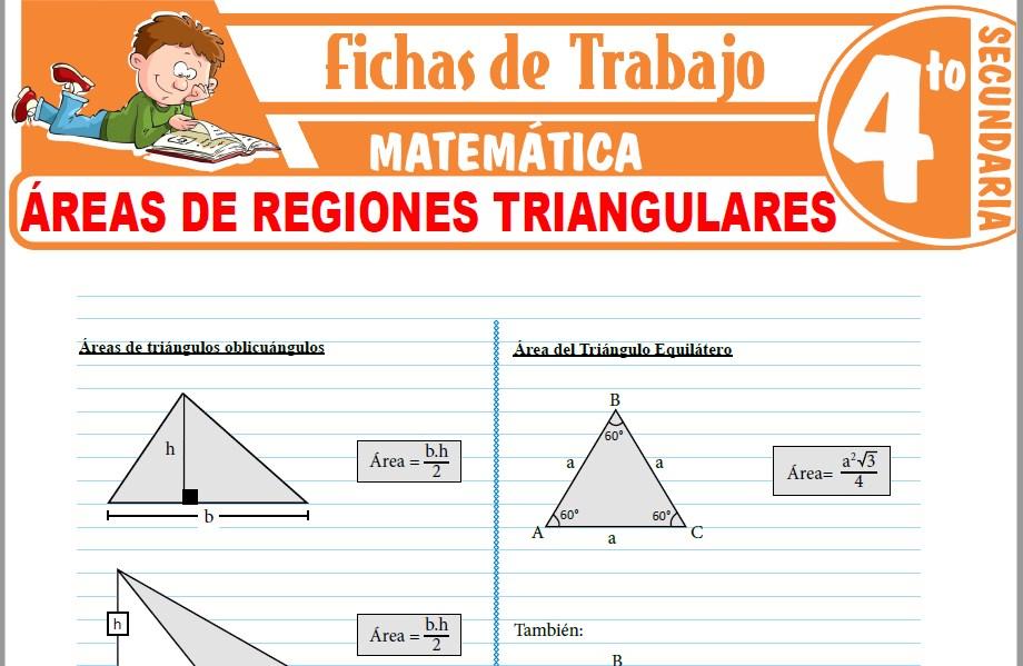 Modelos de la Ficha de Áreas de regiones triangulares para Cuarto de Secundaria