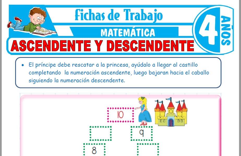Modelos de la Ficha de Ascendente y descendente para Niños de Cuatro Años