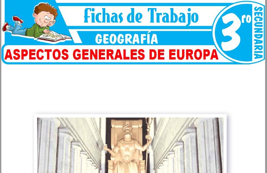 Modelos de la Ficha de Aspectos generales de Europa para Tercero de Secundaria