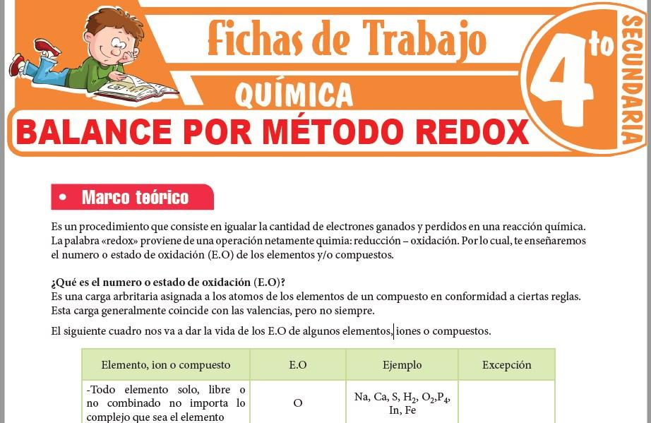 Modelos de la Ficha de Balance por método Redox para Cuarto de Secundaria