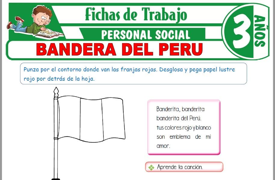 Modelos de la Ficha de Bandera del Perú para Niños de Tres Años