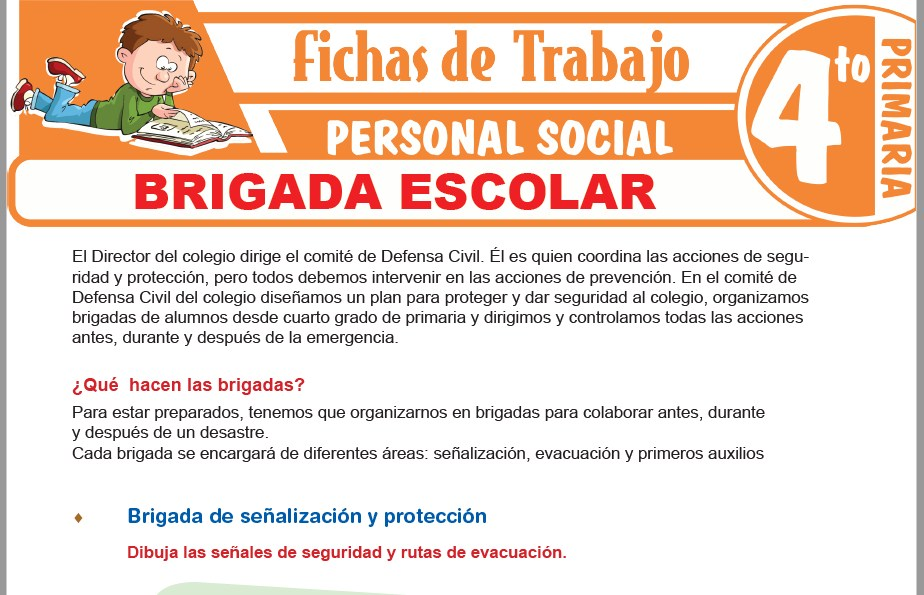 Modelos de la Ficha de Brigada escolar para Cuarto de Primaria