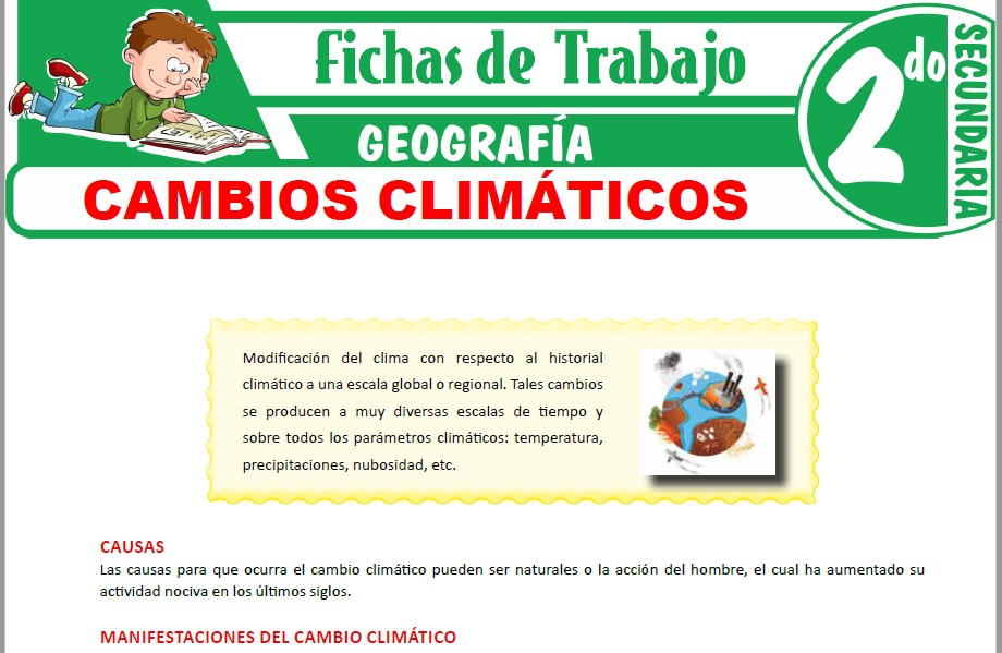 Modelos de la Ficha de Cambios climáticos para Segundo de Secundaria