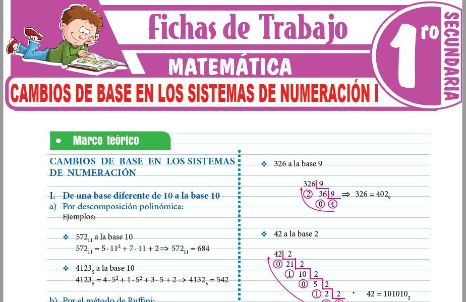 Modelos de la Ficha de Cambios de base en los sistemas de numeración I para Primero de Secundaria