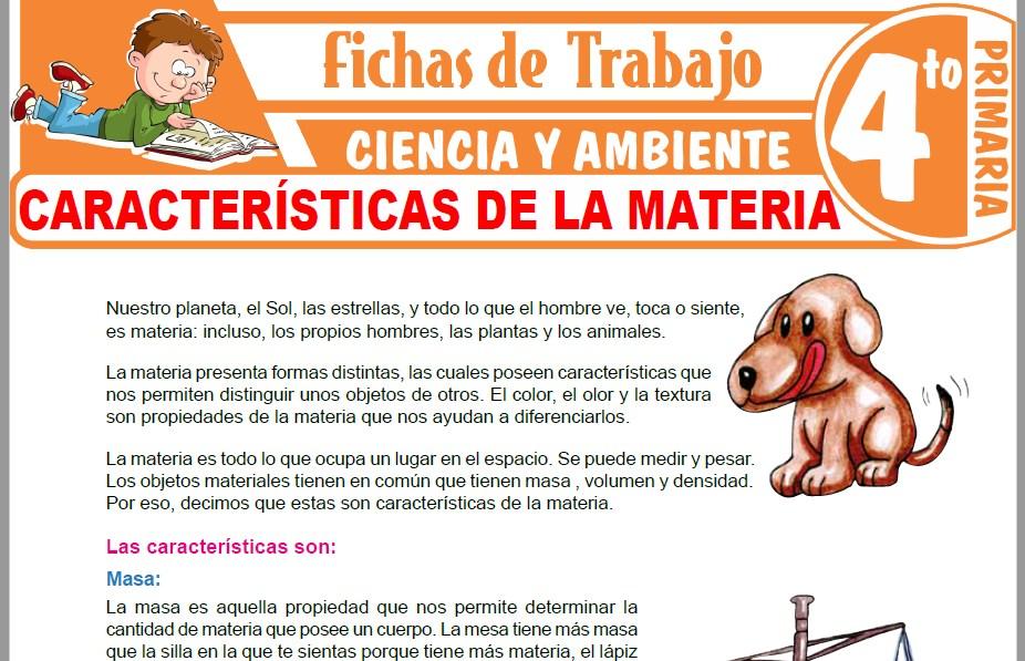 Modelos de la Ficha de Características de la materia para Cuarto de Primaria
