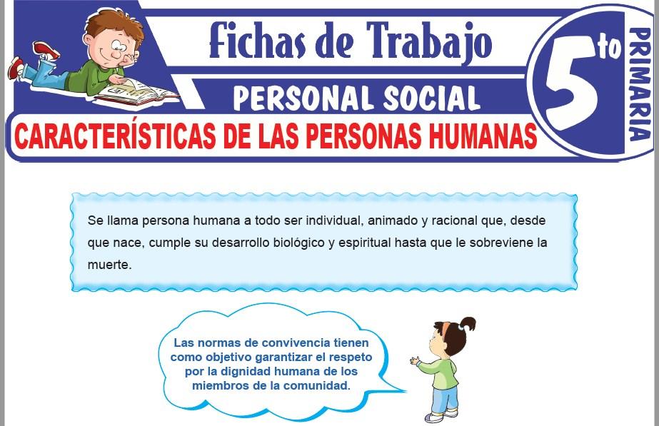 Modelos de la Ficha de Características de las personas humanas para Quinto de Primaria