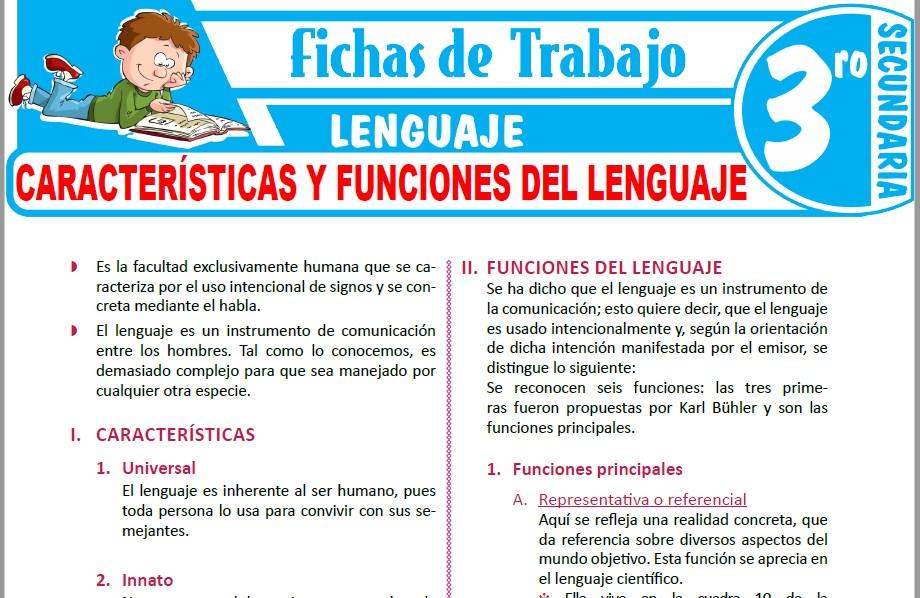 Modelos de la Ficha de Características y funciones del lenguaje para Tercero de Secundaria