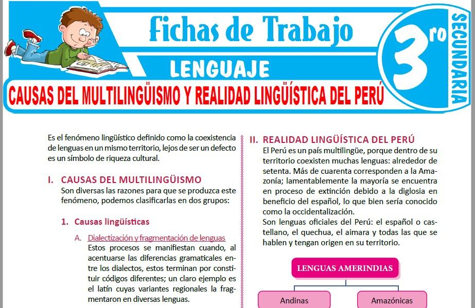 Modelos de la Ficha de Causas del Multilingüismo y Realidad Lingüística del Perú para Tercero de Secundaria