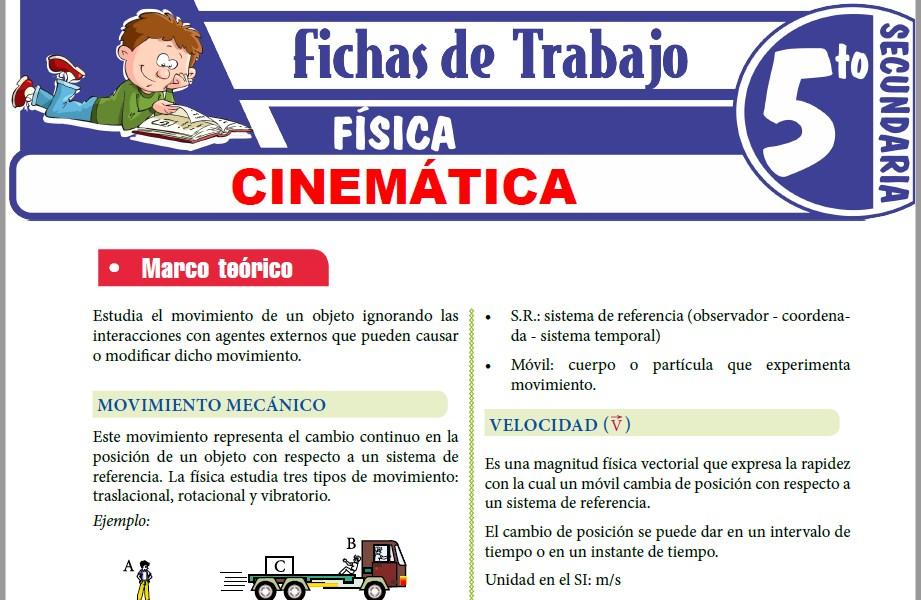 Modelos de la Ficha de Cinemática para Quinto de Secundaria