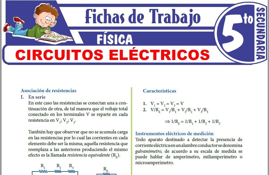 Modelos de la Ficha de Circuitos eléctricos para Quinto de Secundaria