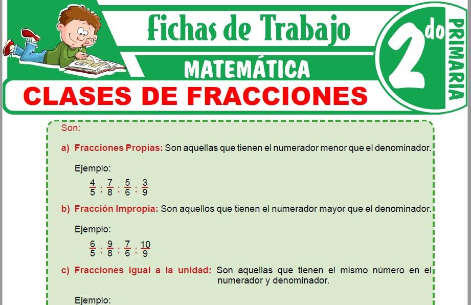 Modelos de la Ficha de Clases de fracciones para Segundo de Primaria