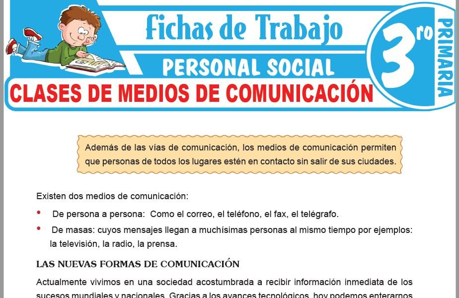 Modelos de la Ficha de Clases de medios de comunicación para Tercero de Primaria