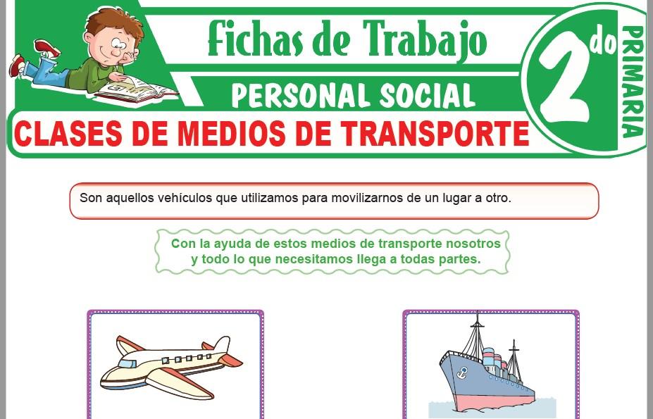 Modelos de la Ficha de Clases de medios de transporte para Segundo de Primaria