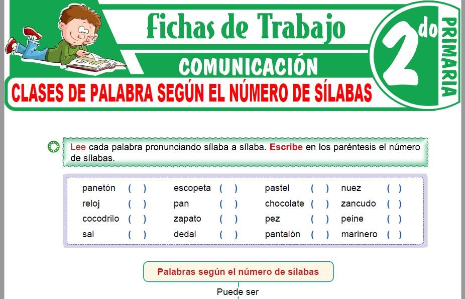 Modelos de la Ficha de Clases de palabra según el número de sílabas para Segundo de Primaria