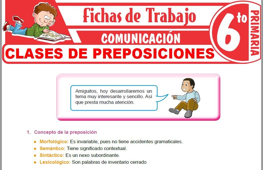 Modelos de la Ficha de Clases de preposiciones para Sexto de Primaria