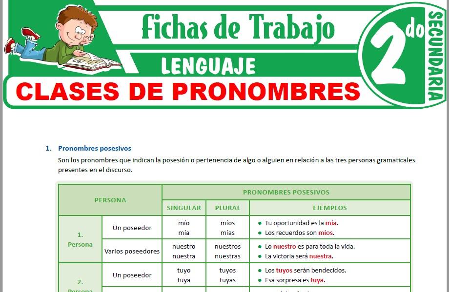Modelos de la Ficha de Clases de pronombres para Segundo de Secundaria