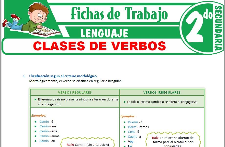 Modelos de la Ficha de Clases de verbos para Segundo de Secundaria