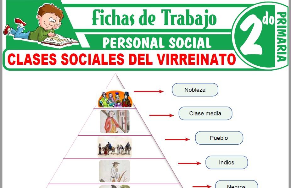Modelos de la Ficha de Clases sociales del virreinato para Segundo de Primaria