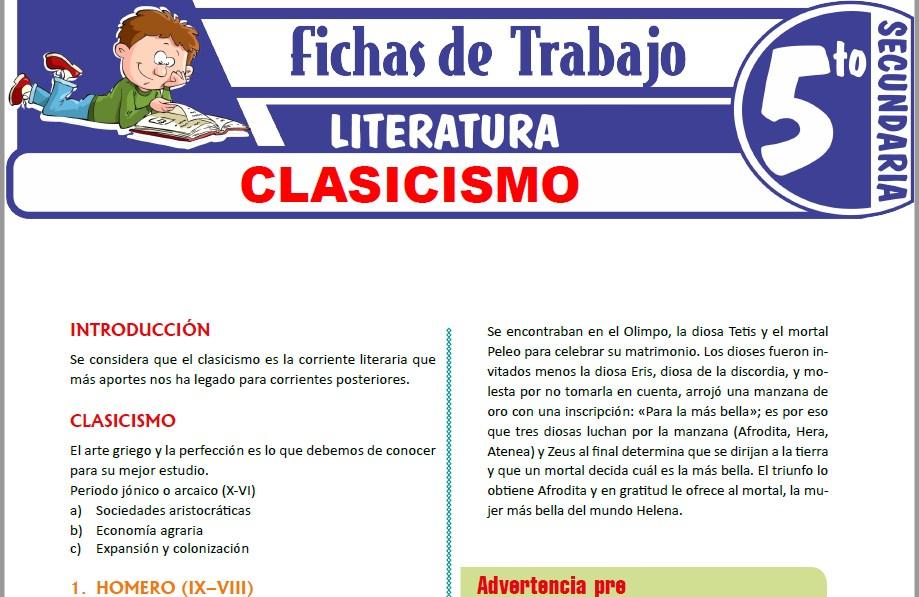 Modelos de la Ficha de Clasicismo para Quinto de Secundaria