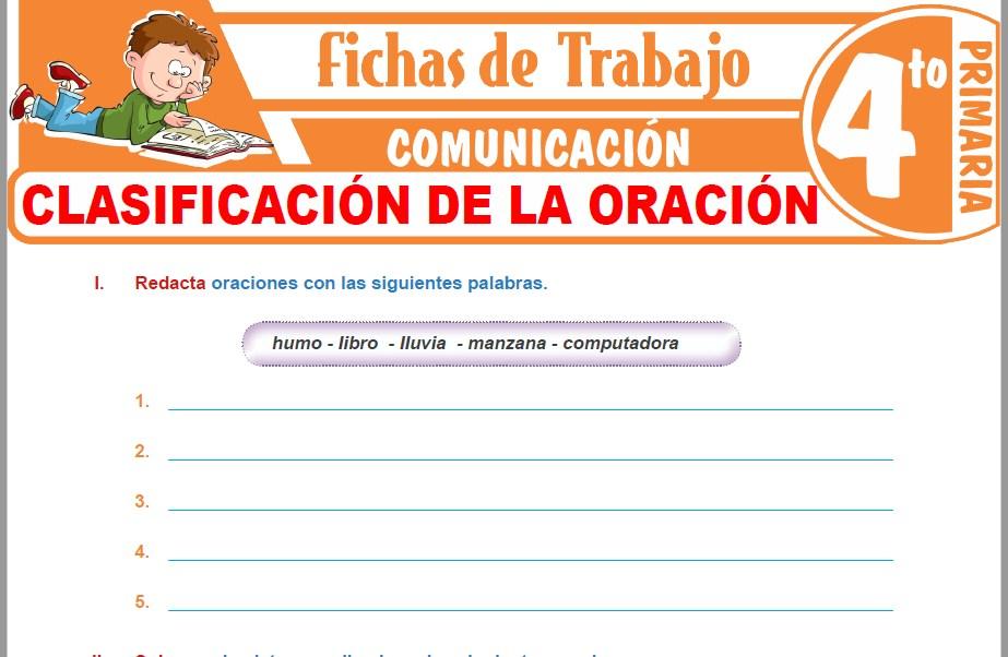 Modelos de la Ficha de Clasificación de la oración para Cuarto de Primaria