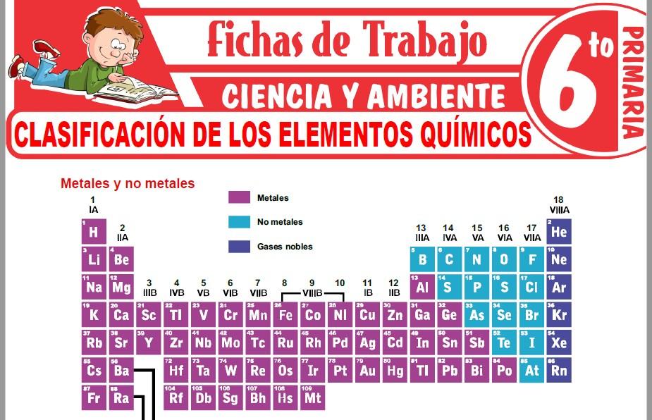 Modelos de la Ficha de Clasificación de los elementos químicos para Sexto de Primaria
