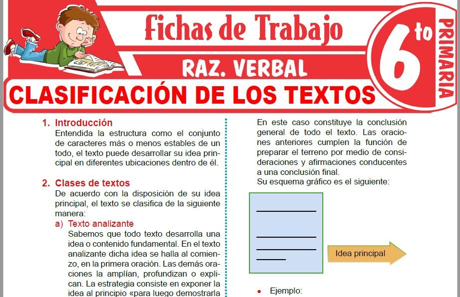 Modelos de la Ficha de Clasificación de los textos para Sexto de Primaria
