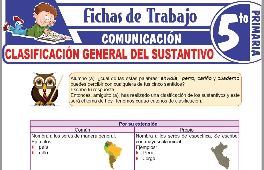 Modelos de la Ficha de Clasificación general del sustantivo para Quinto de Primaria