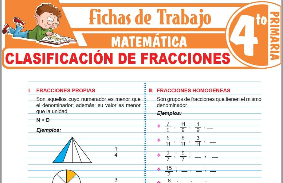 Modelos de la Ficha de Clasificación de fracciones para Cuarto de Primaria
