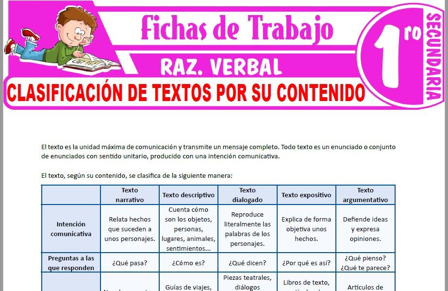 Modelos de la Ficha de Clasificación de textos por su contenido para Primero de Secundaria