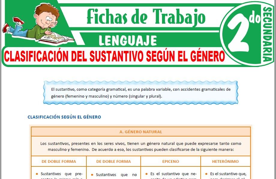 Modelos de la Ficha de Clasificación del sustantivo según el género para Segundo de Secundaria