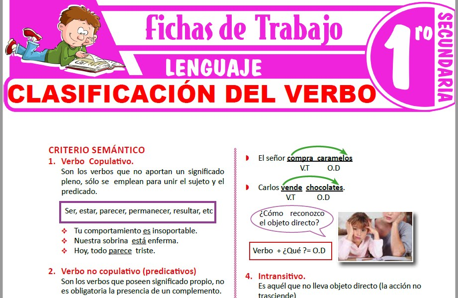 Modelos de la Ficha de Clasificación del verbo para Primero de Secundaria