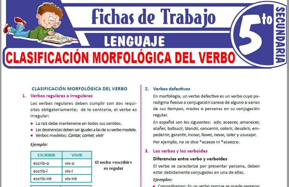 Modelos de la Ficha de Clasificación morfológica del verbo para Quinto de Secundaria