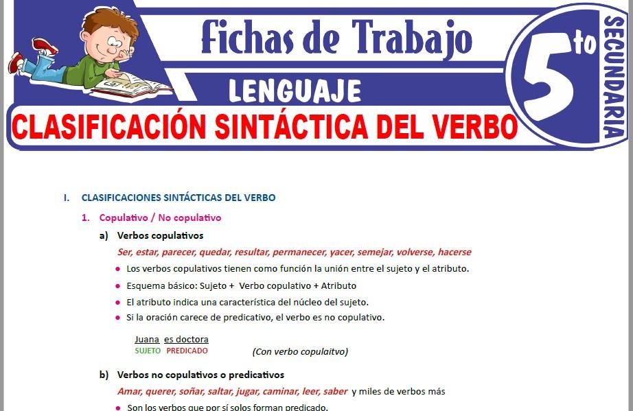 Modelos de la Ficha de Clasificación sintáctica del verbo para Quinto de Secundaria