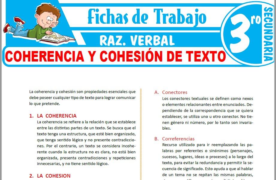Modelos de la Ficha de Coherencia y cohesión de texto para Tercero de Secundaria