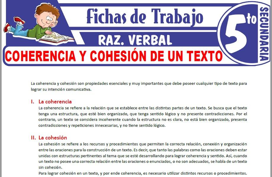 Modelos de la Ficha de Coherencia y cohesión de un texto para Quinto de Secundaria