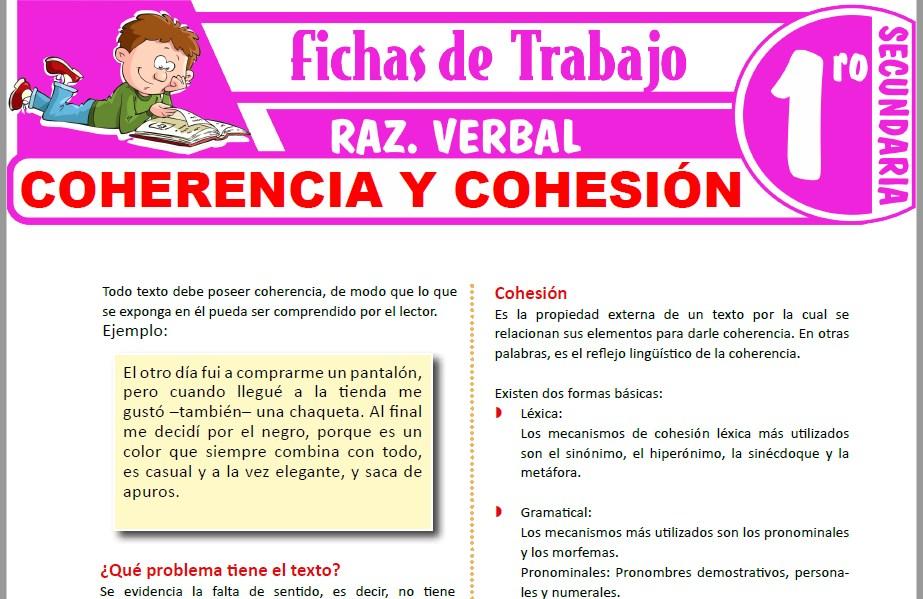 Modelos de la Ficha de Coherencia y cohesión para Primero de Secundaria