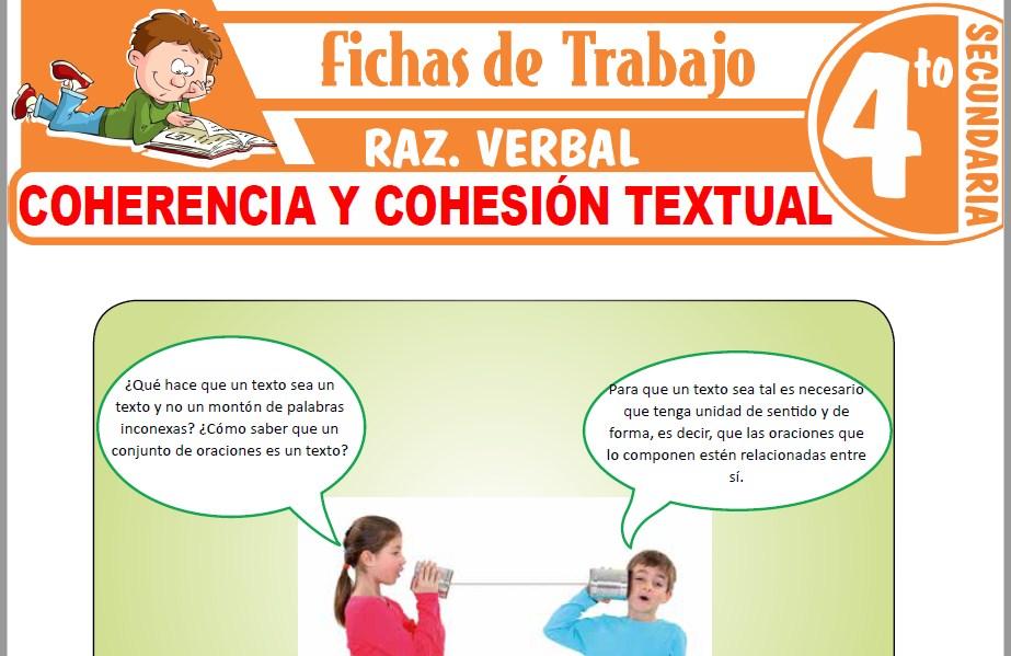Modelos de la Ficha de Coherencia y cohesión textual para Cuarto de Secundaria