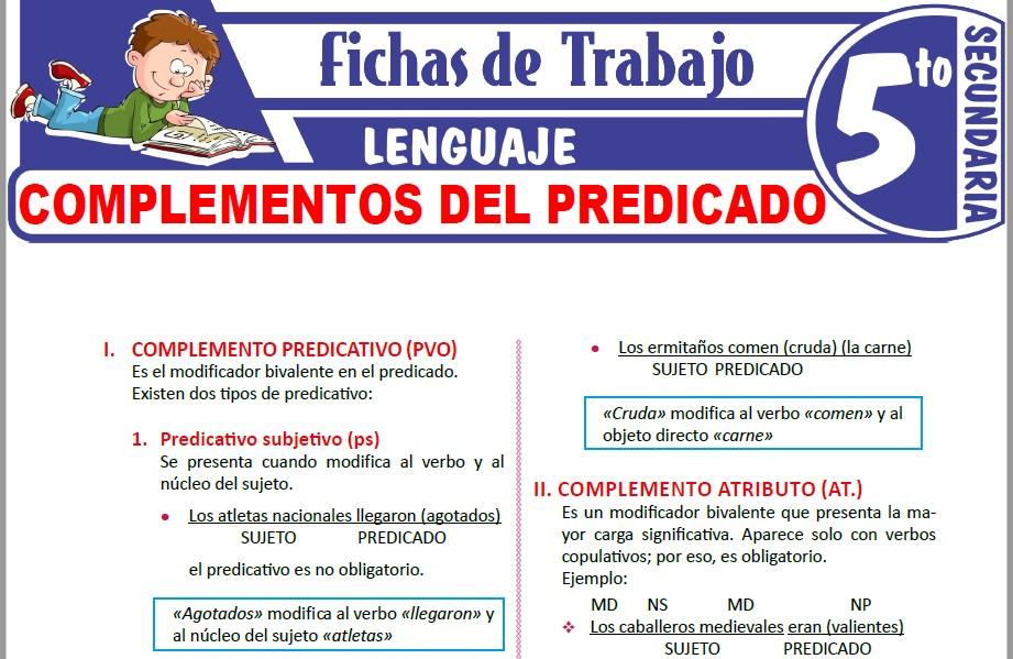 Modelos de la Ficha de Complementos del predicado para Quinto de Secundaria